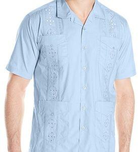 NWT Cubavera Embroidered Guayabera Mens Shirt